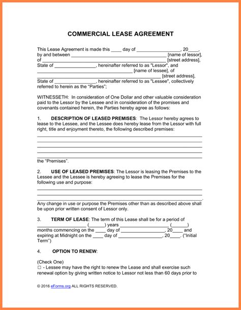 Lease For Commercial Property Template by 11 Commercial Property Lease Agreement Pdf Purchase