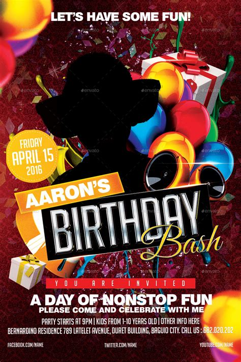 birthday bash flyer by mikkool graphicriver