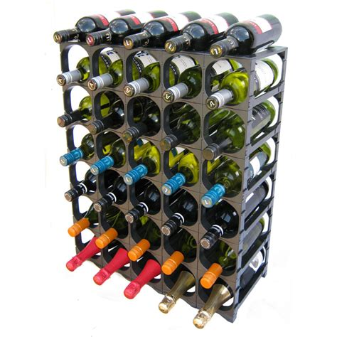 cellarstak 30 36 bottle plastic wine rack black wine