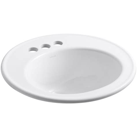 top mount bathroom sinks kohler brookline top mount vitreous china bathroom sink in