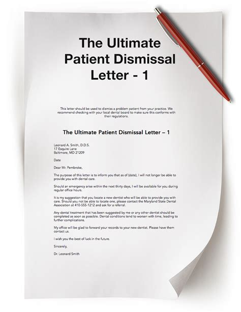 Patient Discharge Letter For No Show Dental Practice Resources Free Dental Resources The