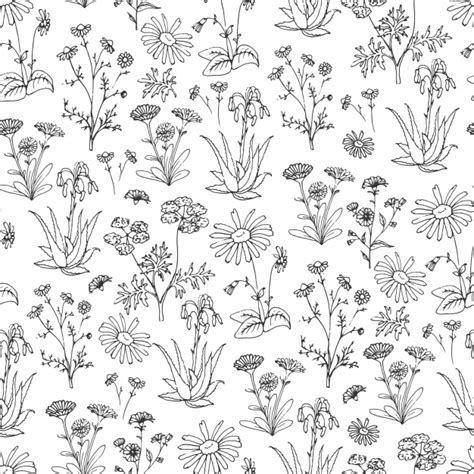 hand drawn flower pattern hand drawn flowers pattern background vector free download