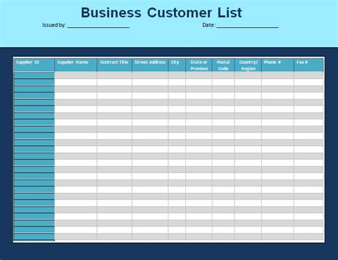 customer list template formsword word templates