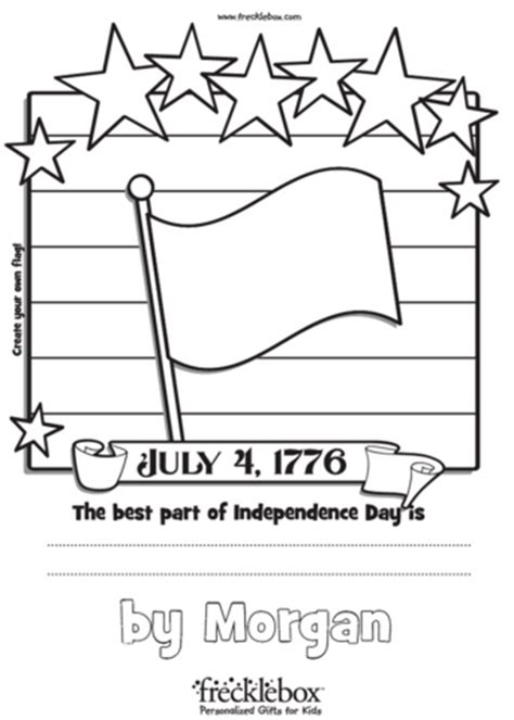Freebie Personalized July 4th Coloring Pages From Frecklebox Free Coloring Pages