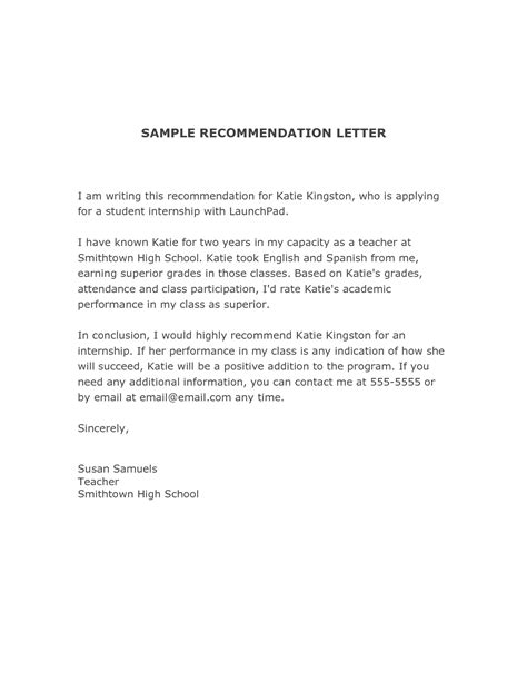 Reference Letter For Student Internship writing a letter of recommendation for a student for college