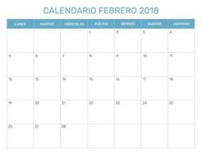Calendario 2018 Febrero Calendario Mensual Para Imprimir A 241 O 2018