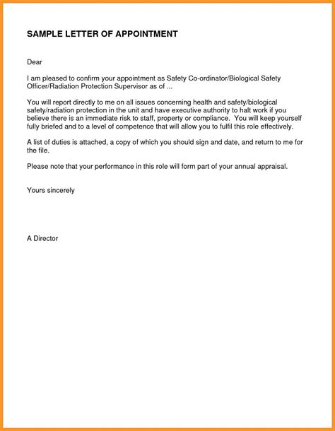 simple appointment letter format refrence letter