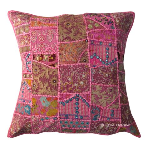 24 Inch Pillows by 24 Inch Pink Boho Multi Indian Patchwork Toss Pillow