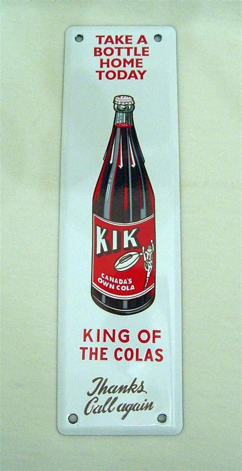 pop signs kik cola vintage door push antique soda pop beverage
