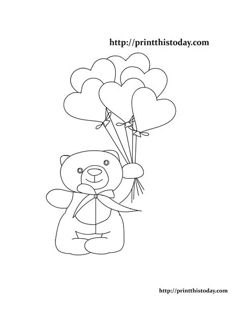 teddy bear holding a heart coloring page free printable teddy bear coloring pages