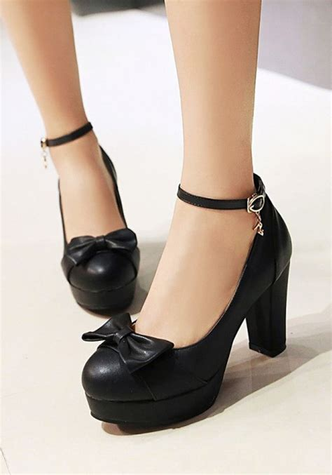 chunky black high heels black toe chunky bow buckle casual high heeled shoes