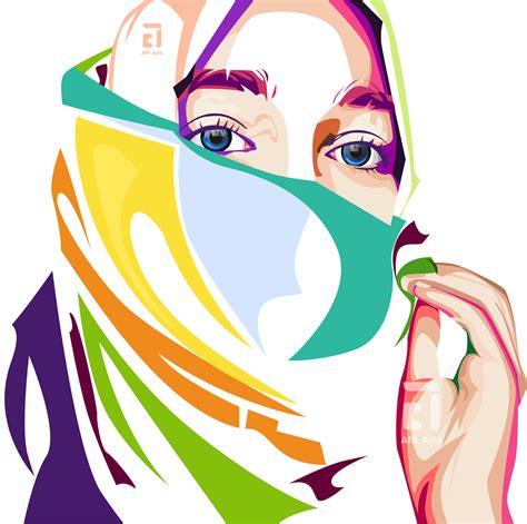 tutorial vector pop art wanita jilbab in vector pop art