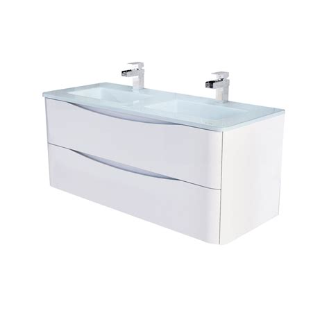 erin wall mounted 1200 vanity unit gloss white white