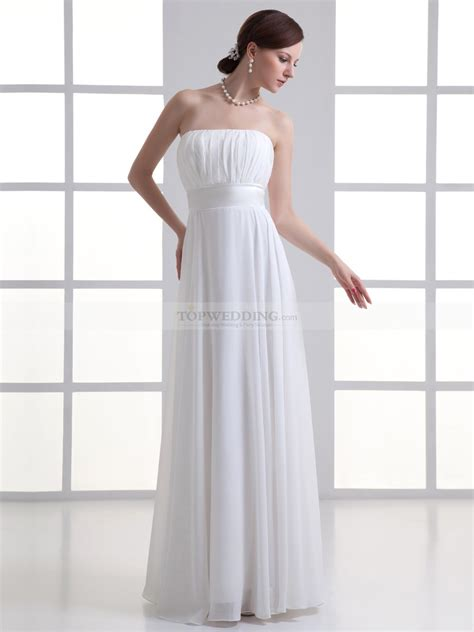 dress pattern ruched bodice strapless chiffon floor length column wedding dress with