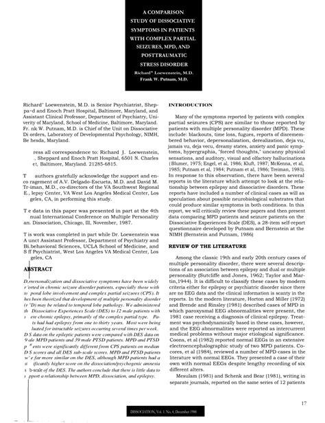 (PDF) A comparison study of dissociative symptoms in