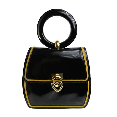 Purses Not Seen As A Clutch Performer by Moschino Redwall Quot Peace And Quot Black Leather Handle Bag