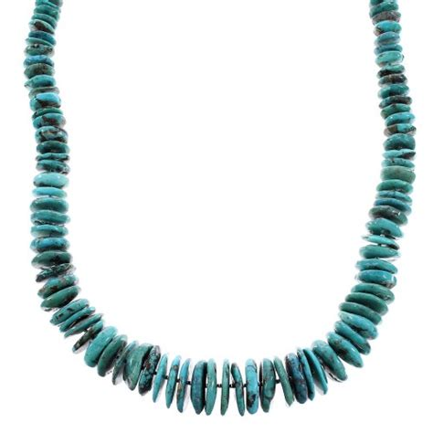 turquoise navajo genuine sterling silver bead necklace ax96499