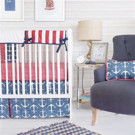 Navy Crib Bedding by Anchors Away In Navy Crib Bedding Set By New Arrivals Inc