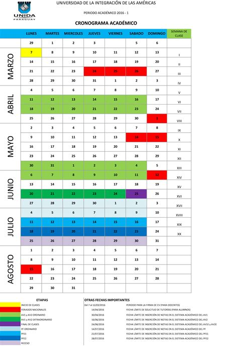 Calendario Academico 2016 Calendario Acad 201 Mico 2016 1 Portal De Calidad Acad 233 Mica