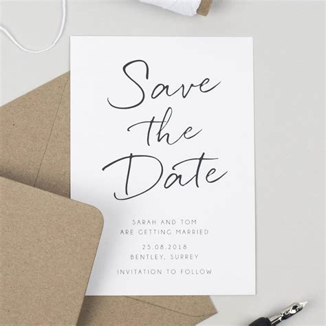 Save The Date Cards by Minimalist Save The Date Card By Pear Paper Co