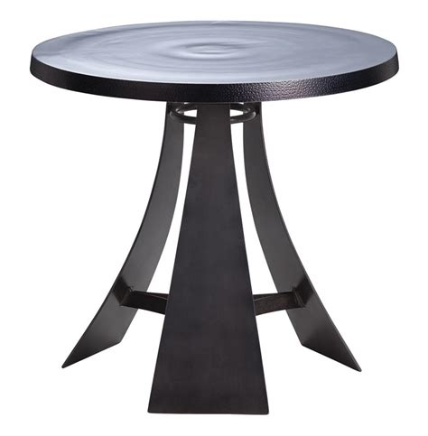 iron accent tables burke aluminum iron round modern accent end table kathy