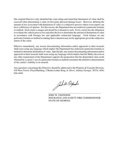 Diminished Value Claim Letter