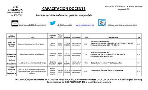 planilla septiembre 2016 inscripci 243 n a capacitaciones docentes en septiembre 2016