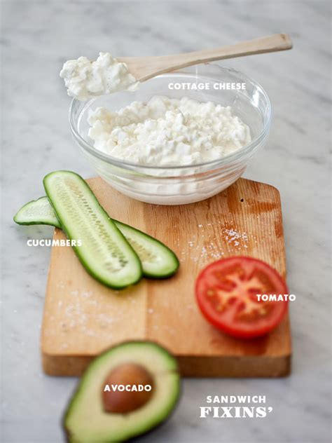 cottage cheese sandwich with avocado
