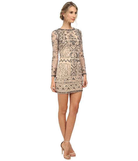 Papell Sleeve Beaded Cocktail Dress In