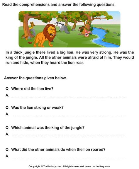 reading comprehension test year 1 reading comprehension stories worksheet 3 turtle diary