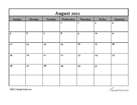 august 2012 calendar template free printable monthly calendar calendar template 2016