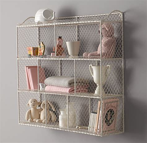 large vintage wire cubby shelf white