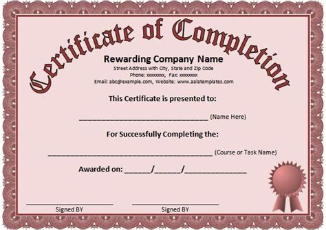 templates for completion certificates free blank certificate templates for word