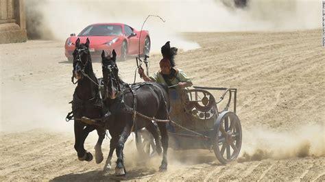 ferrari horse vs mustang horse ferrari races a horse drawn chariot on ben hur set cnn