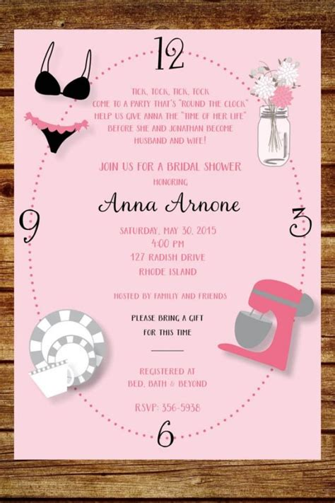 Printable Around The Clock Invitations | around the clock wedding shower invitation custom around