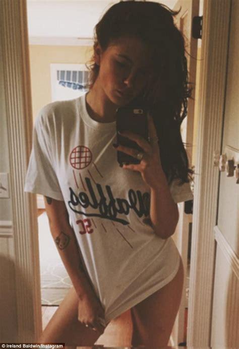 girl selfie in bathroom ireland baldwin in racy bathroom selfie wearing just a