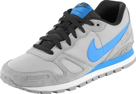 nike air waffle trainer leather shoes grey blue