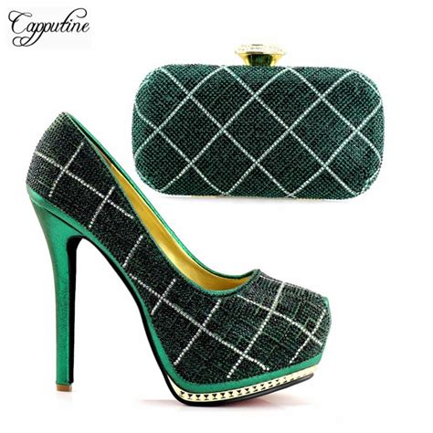 Wondeful Green Pattern Super High Heel Evening Shoes And