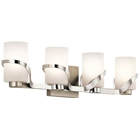 contemporary bathroom vanity lights kichler 45630pn stelata modern polished nickel 4 light bathroom vanity lighting kic