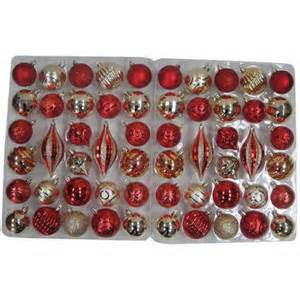 Holiday time red and gold shatterproof christmas ornament set set of