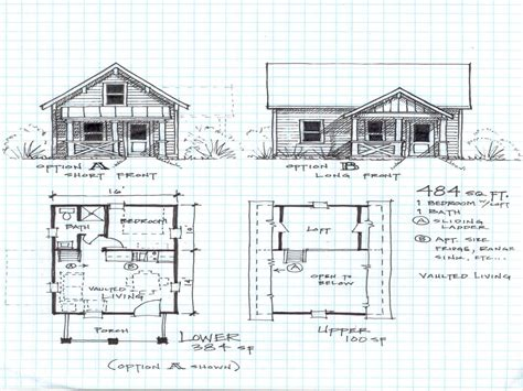Free Cabin Blueprints by Small Cabin Plans With Loft Hunting Cabin Plans Log Cabin