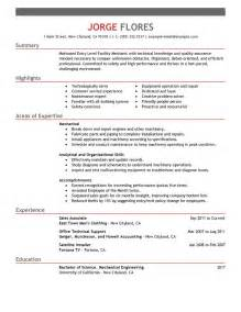 Mechanic Resume Exle by Mechanic Resume Search Results Calendar 2015