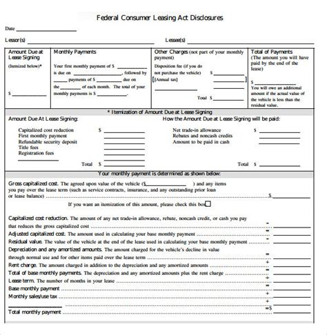 sle car lease agreement 6 free documents download in
