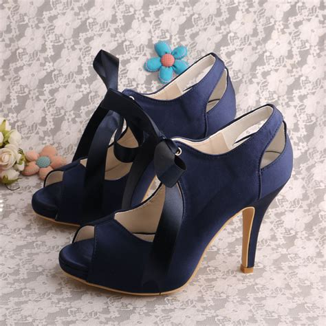Navy Blue Wedding Shoes by Wedopus Navy Blue Lace Up Wedding Shoe Open Toe