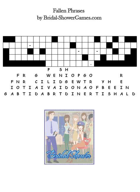 free printable bridal shower crossword puzzle free printable bridal shower puzzle games