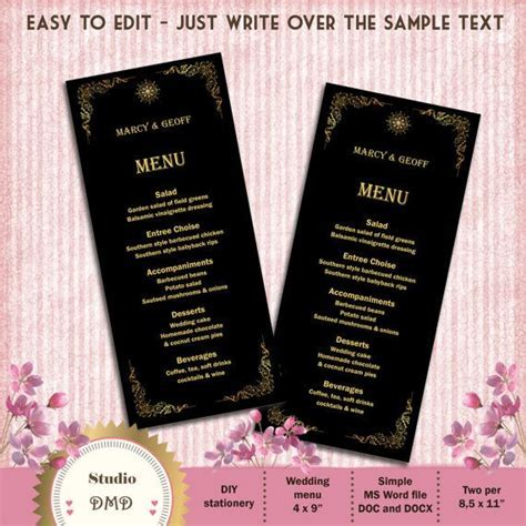 Printable Menu Card Template   Great Gatsby Style Art Deco