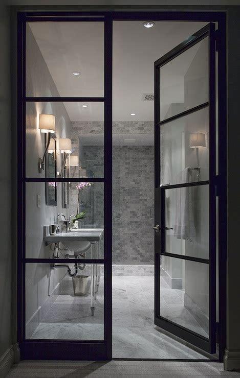 glass  steel doors contemporary bathroom ryan