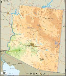 physical map of arizona ezilon maps
