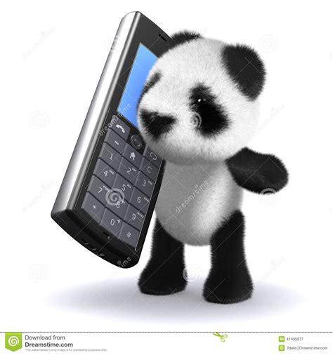 on phone 3d panda chatting on mobile phone stock illustration image 41495677