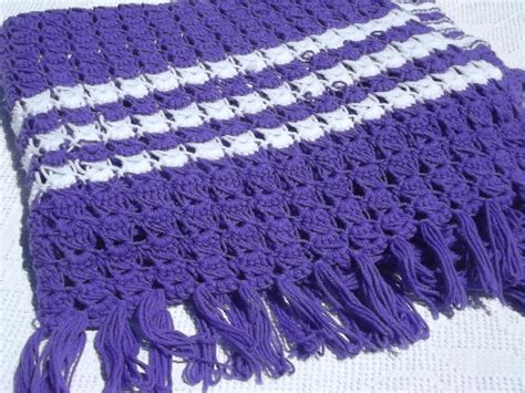 Funky 70s vintage crochet afghan in true purple with white